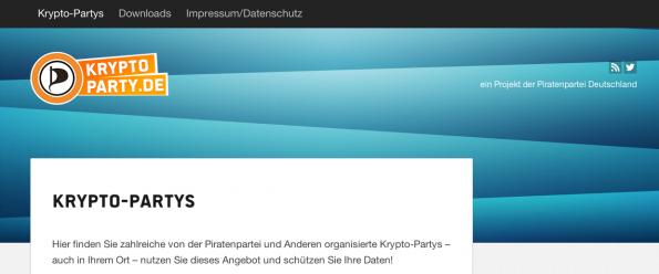 Mit Kryptopartys möchte die Piratenpartei Nutzer unterstützen Kryptografie zu erlernen. Auf Kryptoparty.de gibt es dazu Informationen und Termine zu Workshops. (Screenshot: kryptoparty.de)