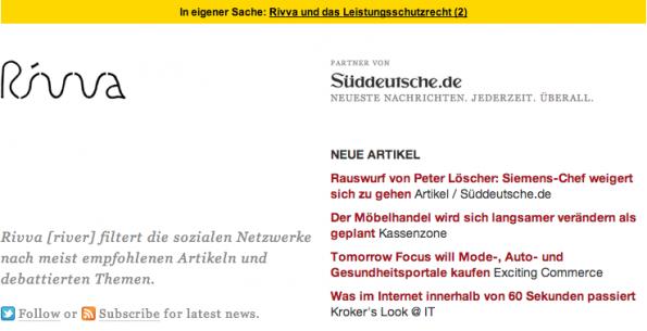 Der Online-Medien-Aggregator Rivva.de informiert aktuell über seine Konsequenzen aus dem Leistungsschutzrecht für Presseverlage. (Screenshot: Rivva)
