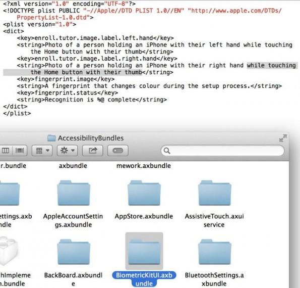 iOS 7 Beta 4: Es finden sich erste Hinweise auf einen Fingerabdruckscanner in kommenden iPhomes. (Bild: Hamza Sood/Twitter)