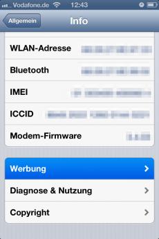 Der relevante Menü-Punkt für das Deaktivieren von Ad-Tracking auf dem iPhone.