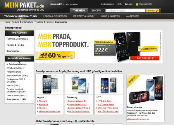 E-Commerce Marktplatz jetzt auch mit Shopsystem im Bundle erhältlich. (Screenshot: MeinPaket.de)