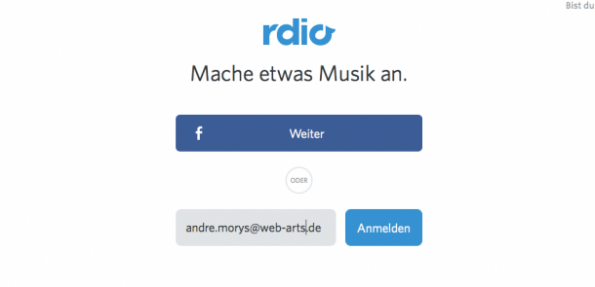 (Screenshot: rdio)