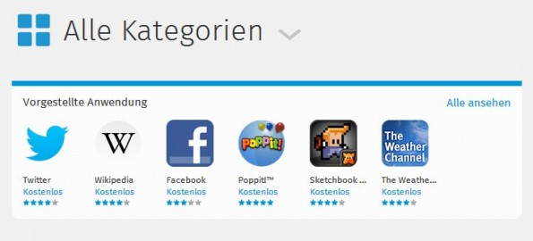 Firefox OS: Wep-Apps werden über den Marketplace vertrieben. (Screenshot: Firefox Marketplace)