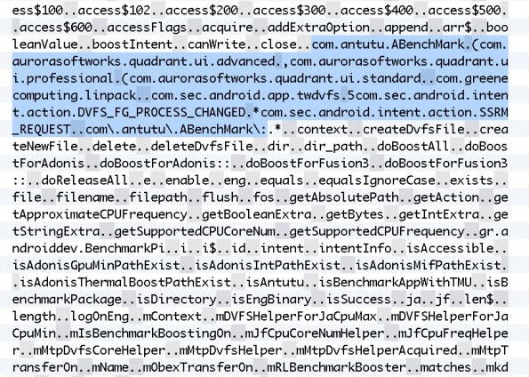 """Eine der betreffenden Stellen im Quelltext: Hier werden die betreffenden Anwendungen definiert sowie die Bezeichnung """"BenchmarkBooster"""" verwendet. (Bildquelle: AnandTech.com)"""