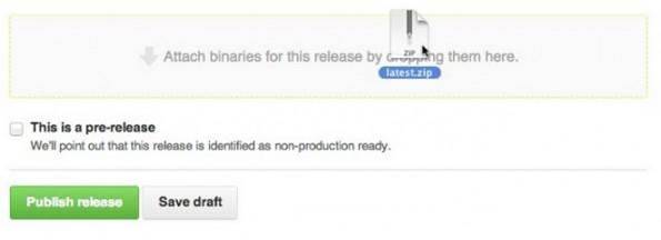 GitHub Releases: Auch Binärdateien lassen sich einfügen. (Screenshot: GitHub)