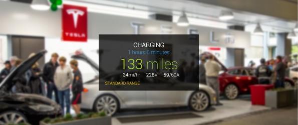 Als eine von vielen Funktionen zeigt GlassTesla den Ladestatus des Tesla S an. (Screenshot: glasstesla.com)