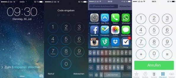 iOS 7 Beta 4: Überarbeitet wurden unter anderem der Lockscreen und das Telefon-App. (Screenshots: iOS 7 Beta 4)