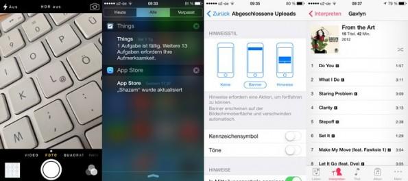 Im Bild zu sehen: Kamera-App, Mitteilungszentrale, Uploads und Musik-App. (Screenshots: iOS 7 Beta 4)