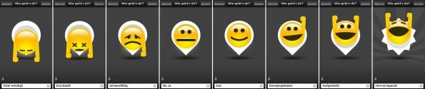 Schön gestaltet, aber wenig flexibel: die Stimmungs-Emoticons des Jawbone UP. (Screenshot: Jawbone-UP-App)
