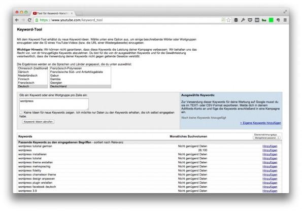 Einblick in die Suchvolumina auf YouTube gibt dessen Keyword-Tool. (Screenshot: youtube.com)