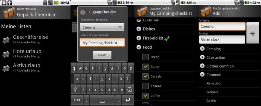 KofferPacken: Mit dieser Urlaubs-App vergisst man nie wieder einen wichtigen Gegenstand zu Hause. (Screenshot: Play Store)