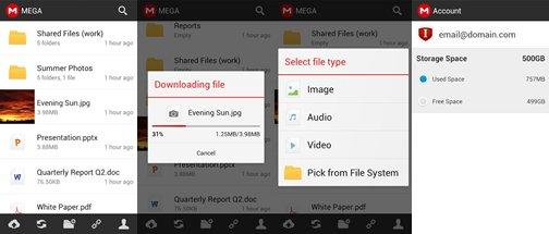 Mega: So sieht die Android-App aus. (Screenshots: Play Store)