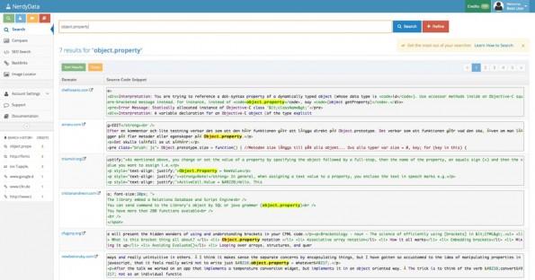 Das NerdyData-Suchergebnis für die JavaScript-Eigenschaft object.property. (Screenshot: NerdyData)