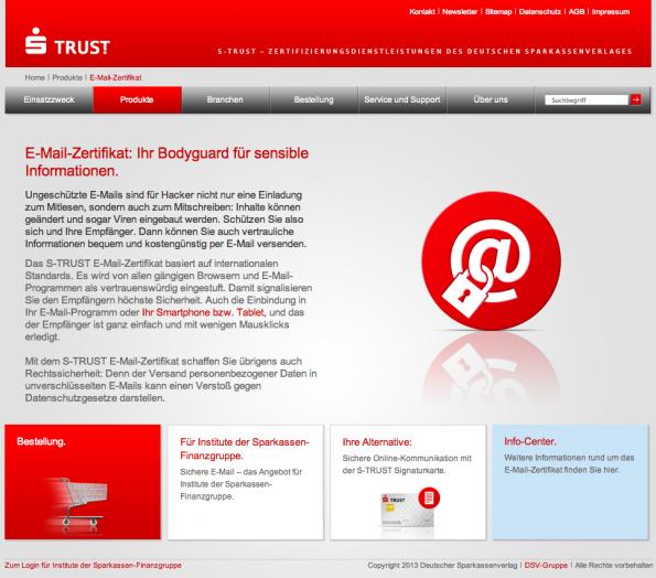 S/MIME-Zertifikate gibt es beispielsweise bei der Sparkasse. (Screenshot: s-trust.de)