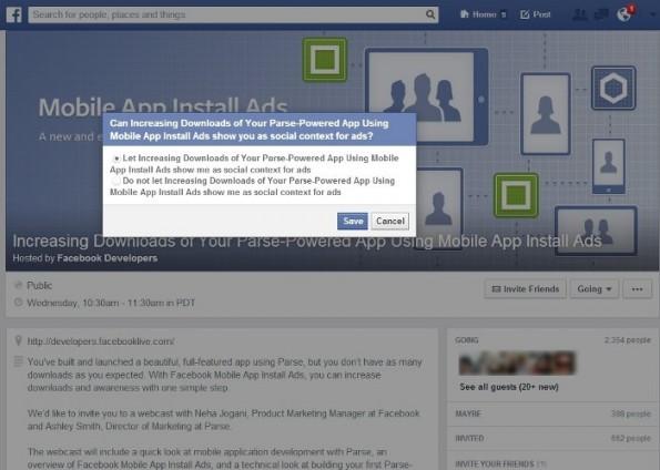 Social Ads: Facebook könnte in Zukunft Nutzer um Erlaubnis fragen. (Screenshot: AllFacebook)