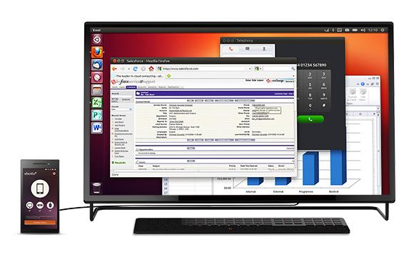 Das Ubuntu Edge soll bei vorhandenem HDMI-Display als vollwertiger Ubuntu-Desktop-Ersatz fungieren. Screenshot: Indiegogo Ubuntu-Edge-Kampagne