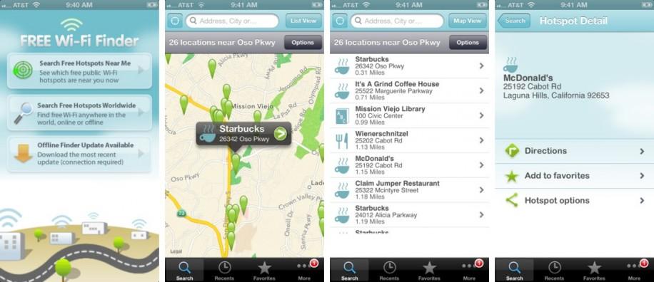 Der Free Wi-Fi Finder hilft bei der Suche nach offenen WLAN-Netzen. (Screenshot: iTunes)