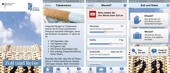 Auch der Zoll hat eine eigene Reise-App veröffentlicht, mit vielen nützlichen Funktionen. (Screenshot: iTunes)