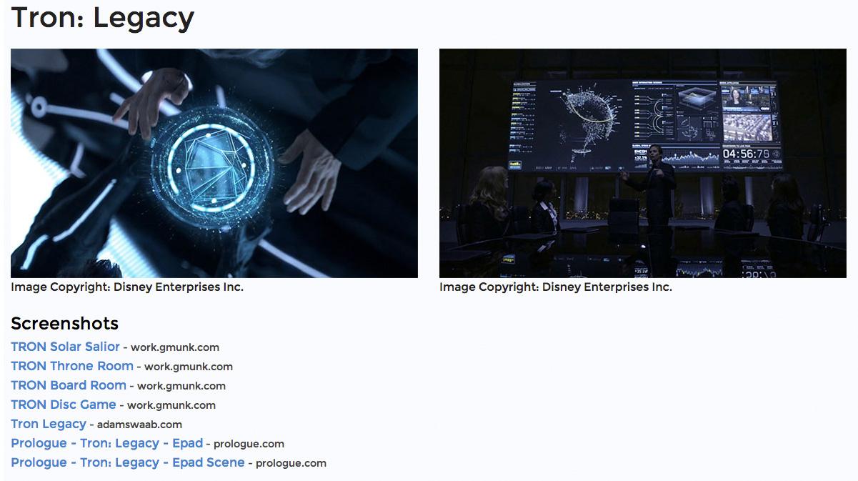"""Ein Eintrag bei """"Kit FUI"""" beschreibt die User Interfaces aus """"Tron: Legacy"""" von 2010."""