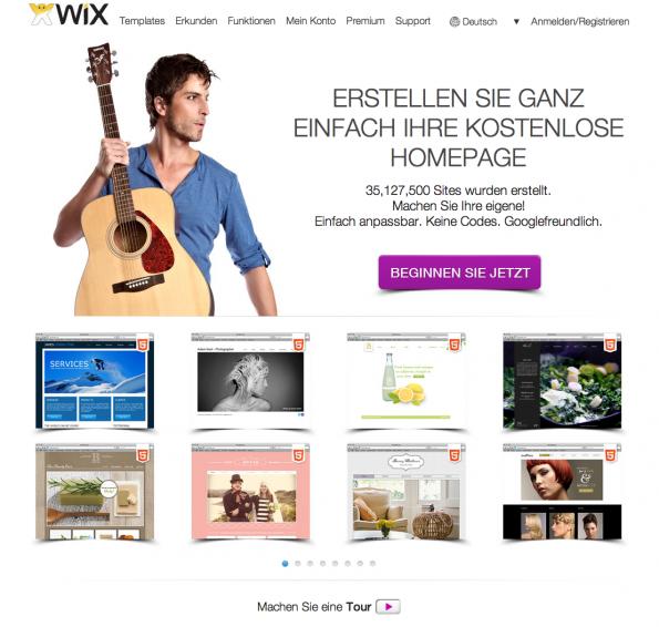 Wix.com - Schon die Startseite zeigt, wie professionell kostenlose Webseiten zu haben sind.