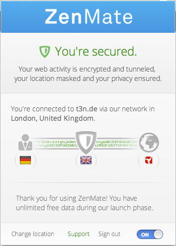 Über den Schalter unten rechts kann ZenMate aktiviert werden. Ein Klick auf die Flagge in der Mitte lässt den Nutzer den Server wechseln.