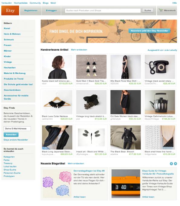 Das eBay Redesign der Stores ähnelt stark Etsy. (Screenshot: Etsy)
