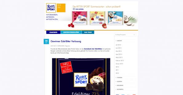 Der Blog von Ritter Sport. (Screenshot: ritter-sport.de/blog)