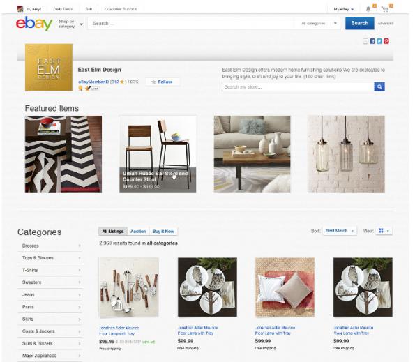 eBay redesign: So könnte die Startseite eines eBay-Stores aussehen. (Screenshot: eBay)
