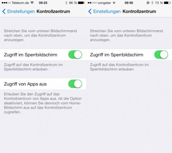 In iOS 7 Beta 5 (links) kann der User den Zugriff auf das Kontrollzentrum unterbinden, wenn es aus einer App heraus gestartet wird.
