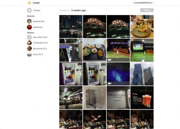 Loom bietet auch ein Webinterface zum Sichten und Sortieren der Fotos.