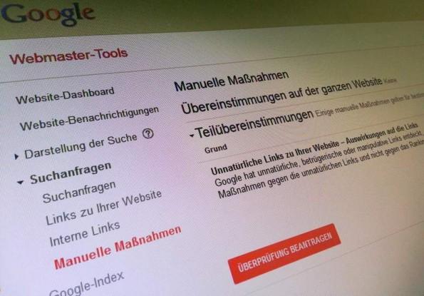 Manuelle Massnahmen: So verkündet Google schlechte Nachrichten für Webmaster.