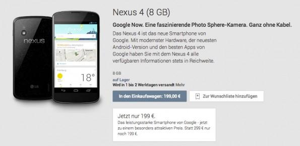 Das Nexus 4 ist bei Google jetzt schon für 199 Euro erhältlich.