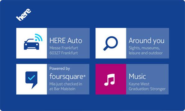 Nokia HERE Auto: Dank SDK können zusätzliche Apps von den Fahrzeugherstellern eingebunden werden. (Bild: Nokia)