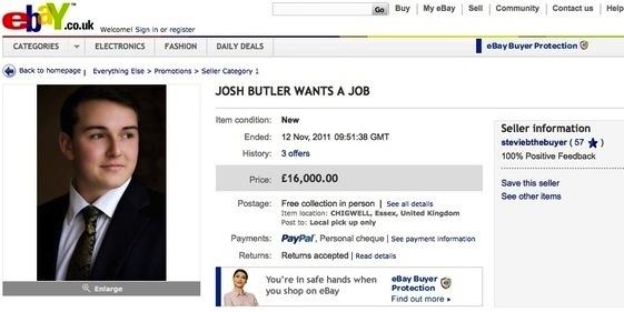 josh butler platzierte seinen online lebenslauf einfach auf ebay und versteigerte seine arbeitskraft hchstbietend - Lebenslauf Online