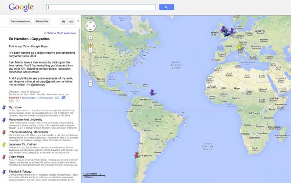 Ebenfalls eine schöne Idee: den Online-Lebenslauf einfach mit Google Maps umsetzen. (Bild: Google Maps)
