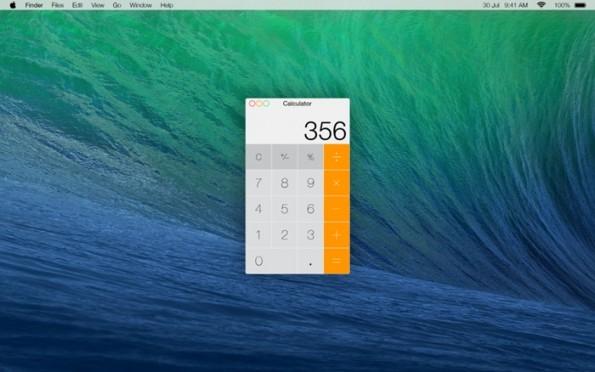 OS-X-Mavericks-Designstudie: Der Taschenrechner wurde fast 1-zu-1 aus iOS 7 übernommen. (Bild: Crew Stu / 9to5mac)