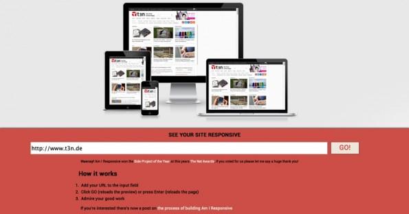 """Das Responsive-Webdesign-Tool """"Am I Responsive?"""" mit einem Test der t3n-Seite."""