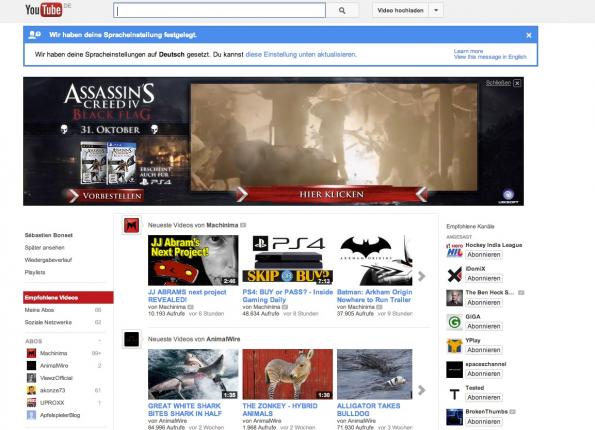 Werbung auf YouTube findet man nicht nur auf der Startseite, sondern auch vor vielen Videos in Form von Werbefilmchen. All diese Werbung lässt sich deaktivieren. (Bild: YouTube)