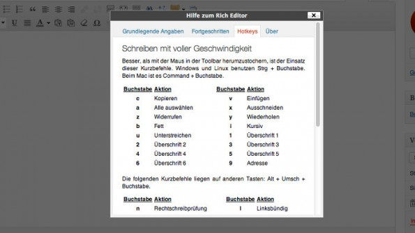 Dank Shortcuts schneller mit WordPress arbeiten. (Screenshot: WordPress)
