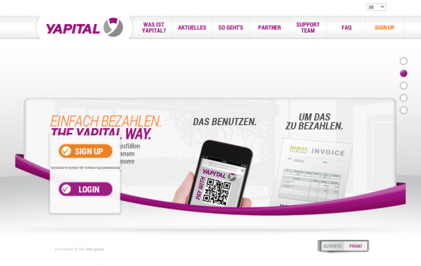 Die Multichannel-Payment-Lösung Yapital startet durch. (Screenshot: Yapital)