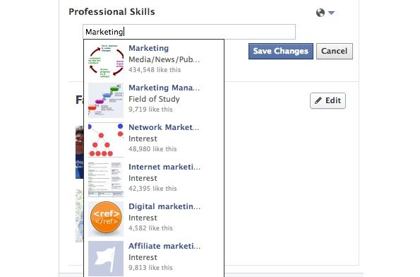 """Facebook testet neue Funktionen, mithilfe der Nutzer im eigenen Profil """"professionelle Fähigkeiten""""hinterlegen können. (Quelle: TheNextWeb)"""