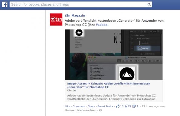Facebook-Werbeformate: Auch im Newsfeed werden uns Geschichten bildlastiger präsentiert. (Screenshot: Facebook-Werbeformate)
