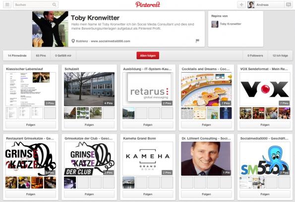 Online Bewerbung Pinterest Toby Kronwitter
