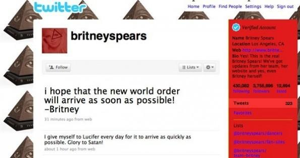 """Britney Spears wird Opfer eines Twitter-Hack: """"Glory to Satan!"""", heißt es in einem Tweet. (Bild: Mashable)"""
