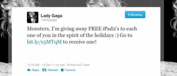 Ein Twitter-Hack verspricht, dass Lady Gaga iPad's verschenkt. (Screenshot: TechCrunch)