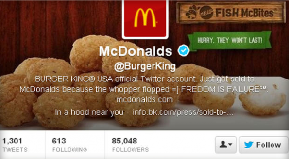 McDonalds-Logo ziert Burger King's Twitter-Account. (Screenshot: Twitter)