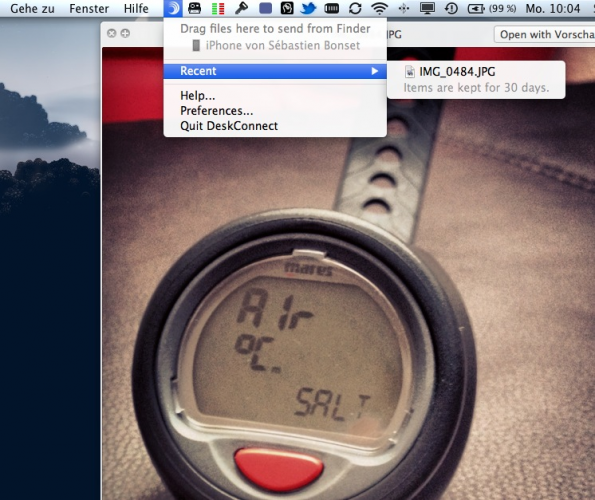 DeskConnect ist besonders praktisch, wenn man Screenshots vom iPhone auf den Mac senden möchte.