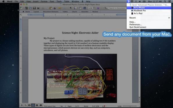 Praktisch, aber für sensible Daten ungeeignet. DeskConnect beamt Dokumente zwischen Mac und iPhone hin und her – nimmt aber den Umweg über fremde Server. (Bild: Mac App-Store)