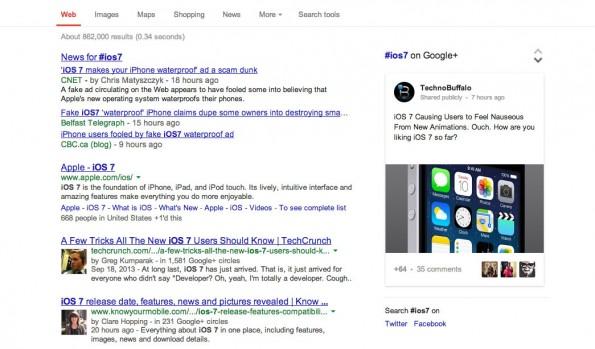 Google: So sehen die Ergebnisse der Hashtag-Suche aus. (Screenshot: Google)
