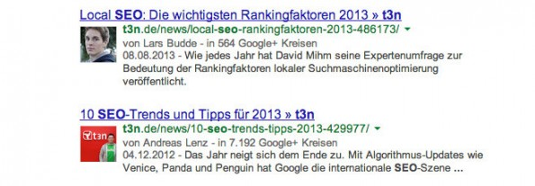 Authorship: So sieht das Ergebnis in den Suchergebnissen aus. (Screenshot: Google)